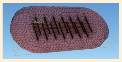 Рис. 8. Модель горизонтальной скважины с МГРП с заданным контуром питания для численных расчетов в ПО «Сапфир»