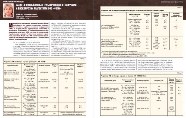 Защита промысловых трубопроводов от коррозии и биокоррозии реагентами ООО «ФЛЭК»
