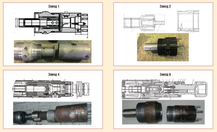 Рис. 3. Сравнительные характеристики стыковочных узлов под СПТ разных производителей
