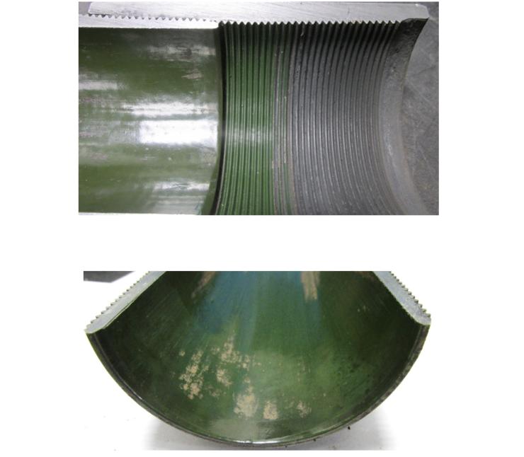 Рис. 2. Внешний вид образцов после распиловки с внутренним антикоррозионным покрытием серии TC с наработкой 1800 сут.