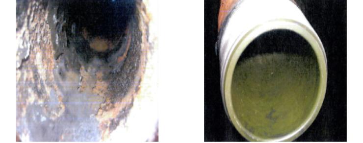 Рис. 1. Фотографии внутренней поверхности труб до и после использования НКТП ТС3000F
