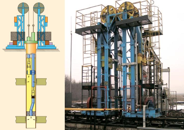 Двухлифтовая установка для ОРЭ с цепным приводом