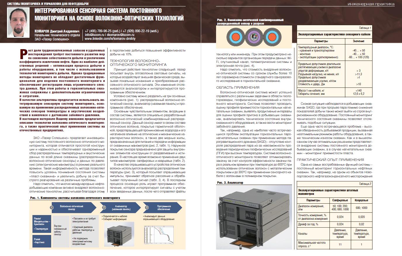 23079 Интегрированная сенсорная система постоянного мониторинга на основе волоконно-оптических технологий
