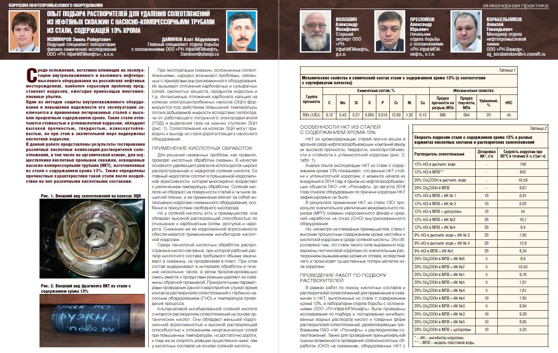 23187 Опыт подбора растворителей для удаления солеотложений из нефтяных скважин с НКТ из стали, содержащей 13% хрома