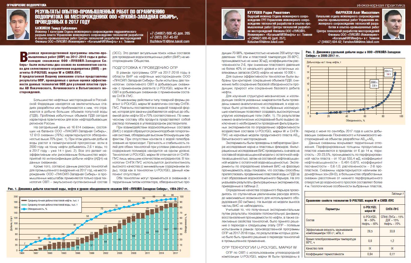 23422 Результаты ОПИ по ОВП на месторождениях ООО «ЛУКОЙЛ-Западная Сибирь», проведенных в 2017 году