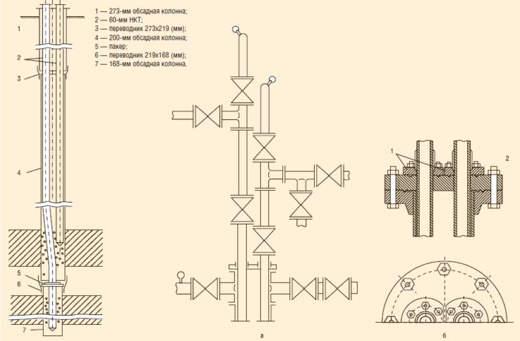 Схема оборудования скважины параллельными рядами НКТСхема оборудования скважины параллельными рядами НКТ