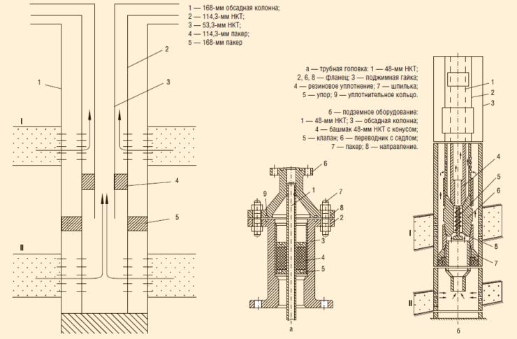 Схема ОРЭ двух пластов с применением концентрично расположенных колонн НКТ