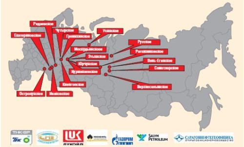 География внедрения винтовых насосов с вентильными приводами ПК «Борец» на месторождениях РФ