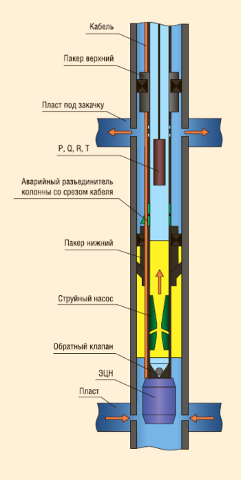 Рис. 5. Установка для внутрискважинной перекачки пластовых вод