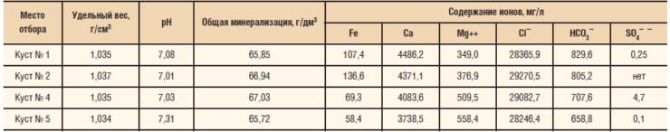 Химический состав попутно добываемой воды скважин Урманского м/р