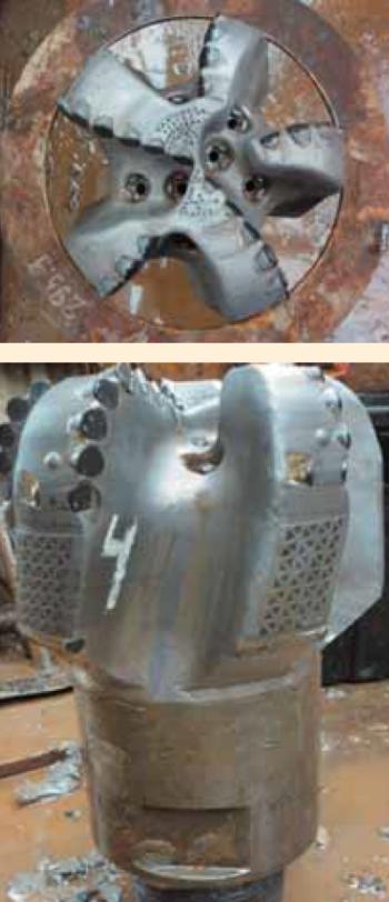 Рис. 1. Долота 295,3 мм HCD605Z производства Baker Hughes, применяемые на Харьягинском месторождении (а — вид сверху, б — вид сбоку)