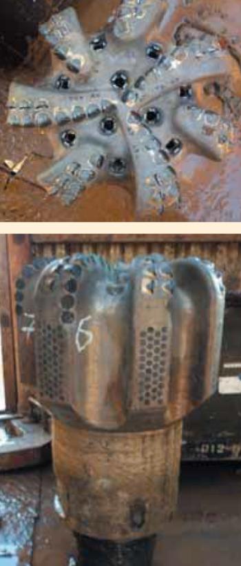 Рис. 2. Долота 295,3 мм Q507FX Baker Hughes, применяемые на Харьягинском месторождении (а — вид сверху, б — вид сбоку)
