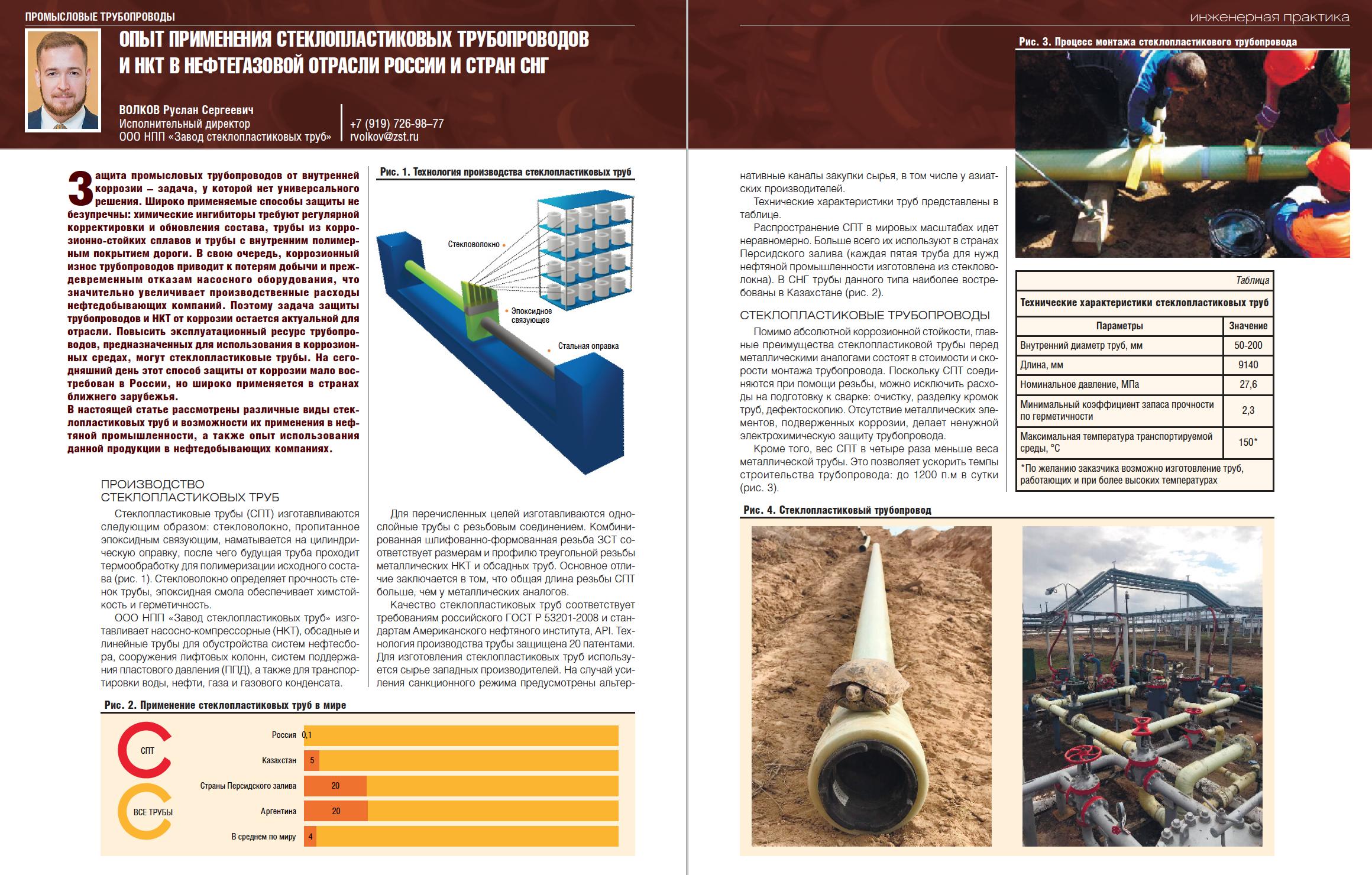 28836 Опыт применения стеклопластиковых трубопроводов и НКТ в нефтегазовой отрасли России и стран СНГ