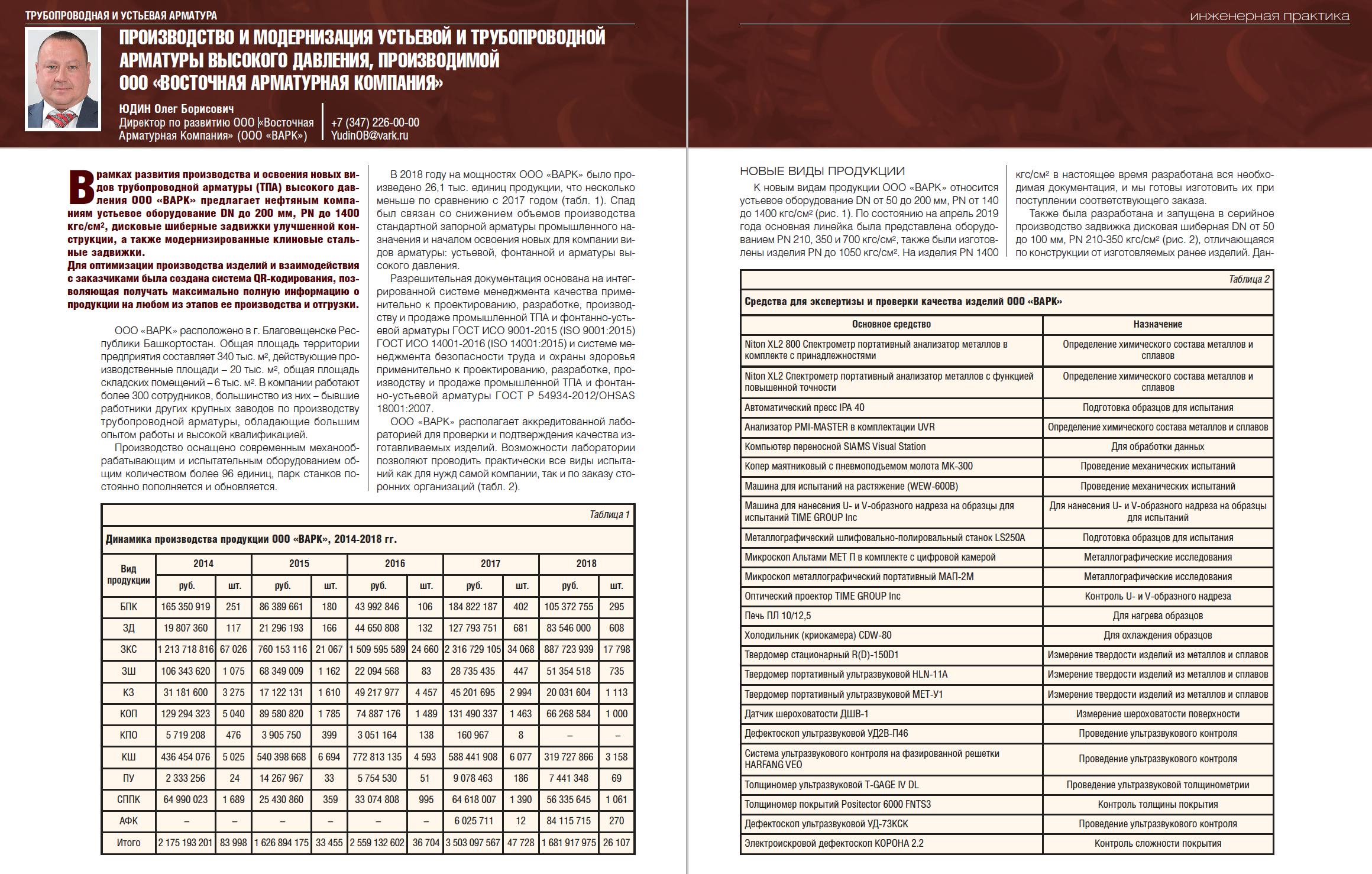 28912 Производство и модернизация устьевой и трубопроводной арматуры высокого давления, производимой ООО «Восточная арматурная компания»