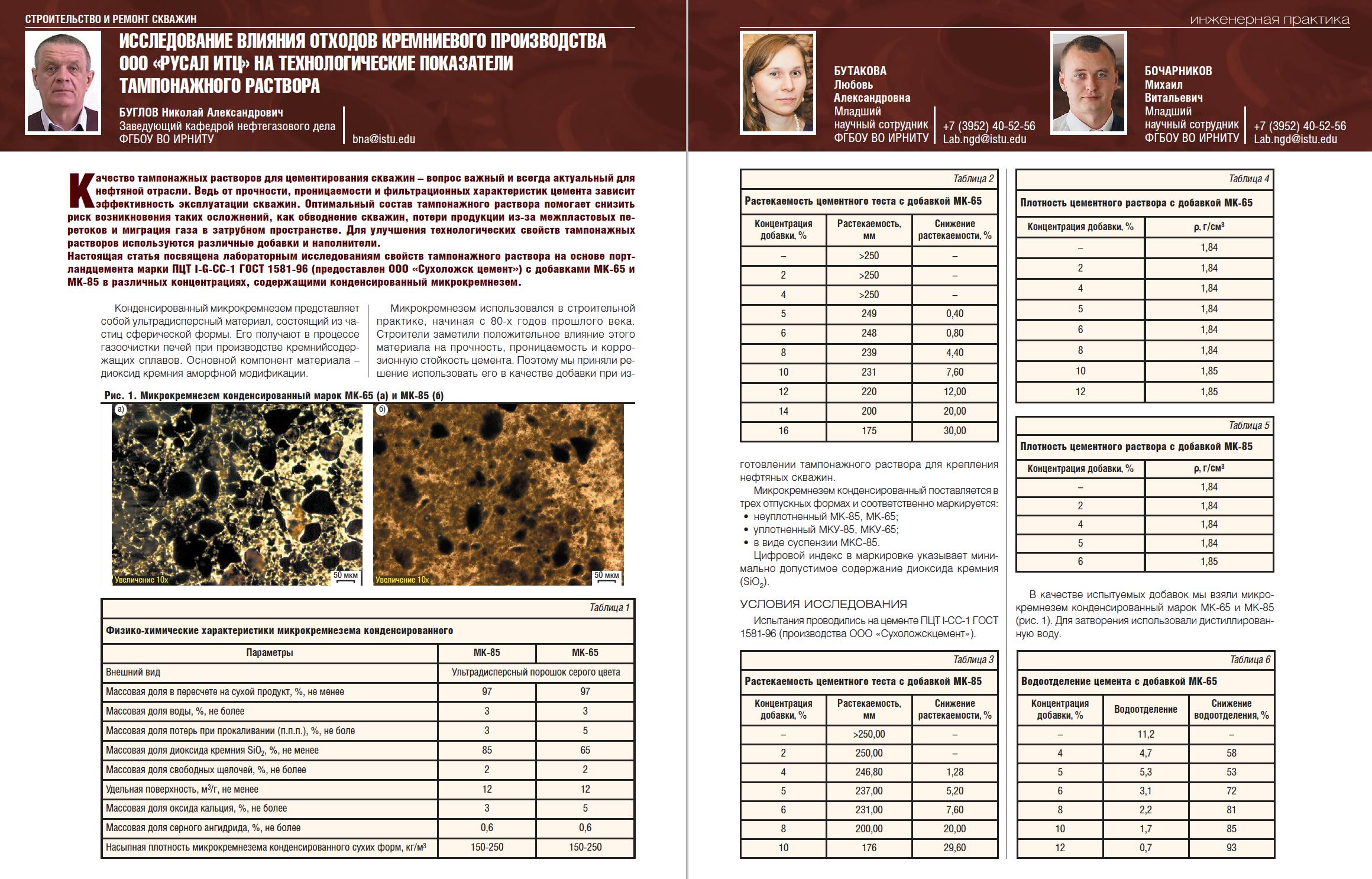 28708 Исследование влияния отходов кремниевого производства ООО «РУСАЛ ИТЦ» на технологические показатели тампонажного раствора