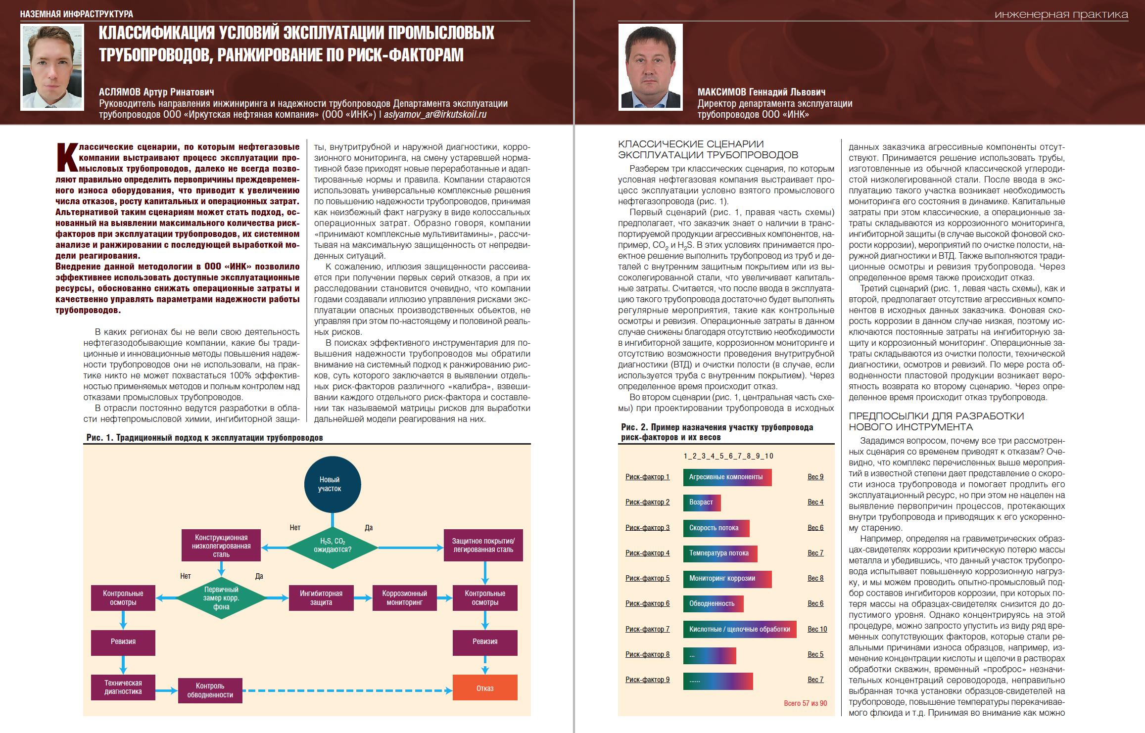 29679 Классификация условий эксплуатации промысловых трубопроводов, ранжирование по риск-факторам