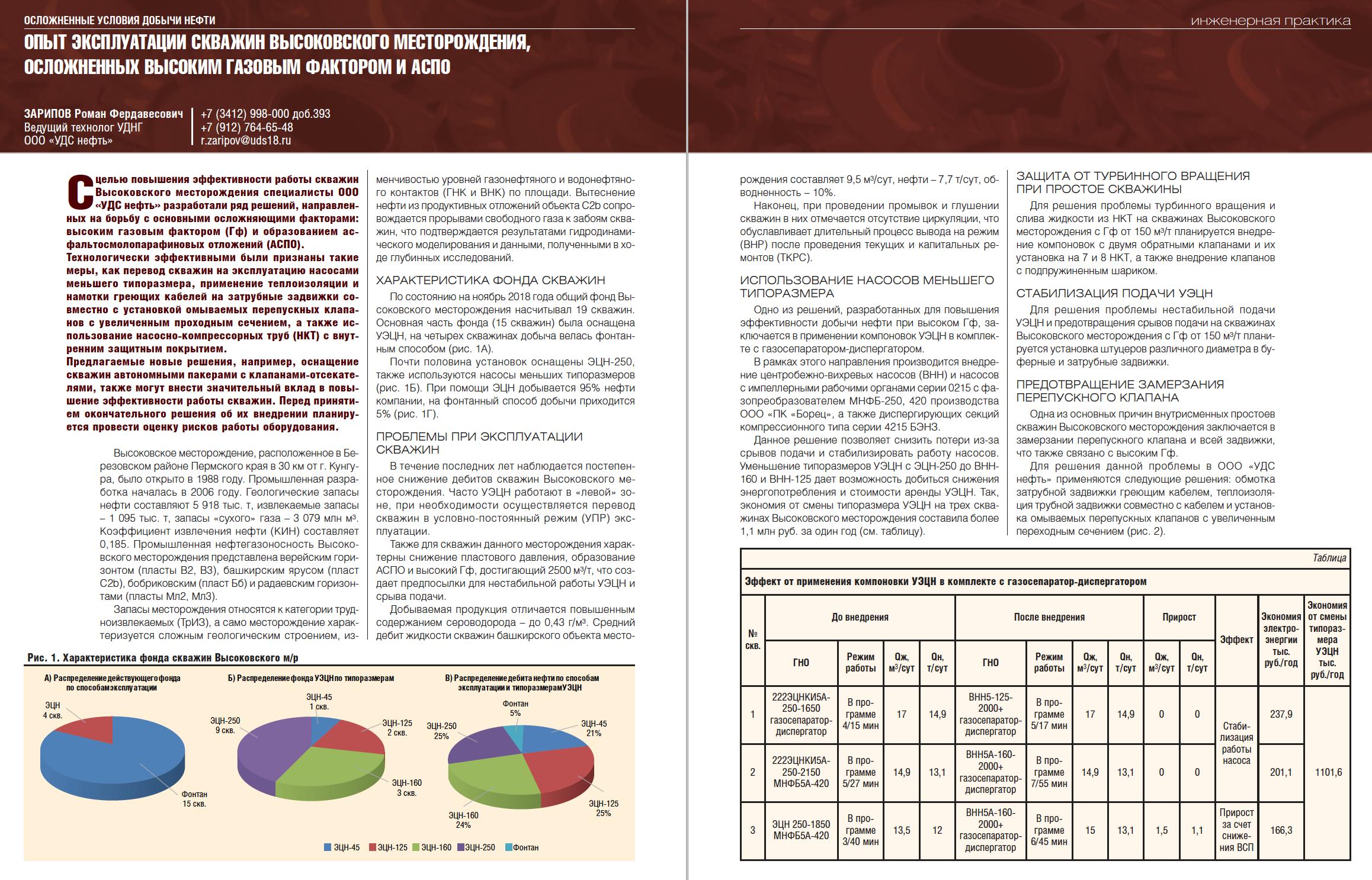 29862 Опыт эксплуатации скважин Высоковского месторождения, осложненных высоким газовым фактором и АСПО