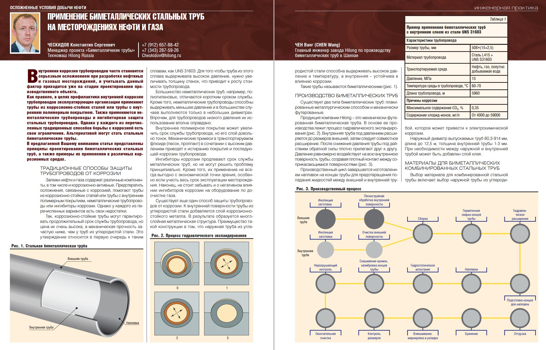 29841 Применение биметаллических стальных труб на месторождениях нефти и газа