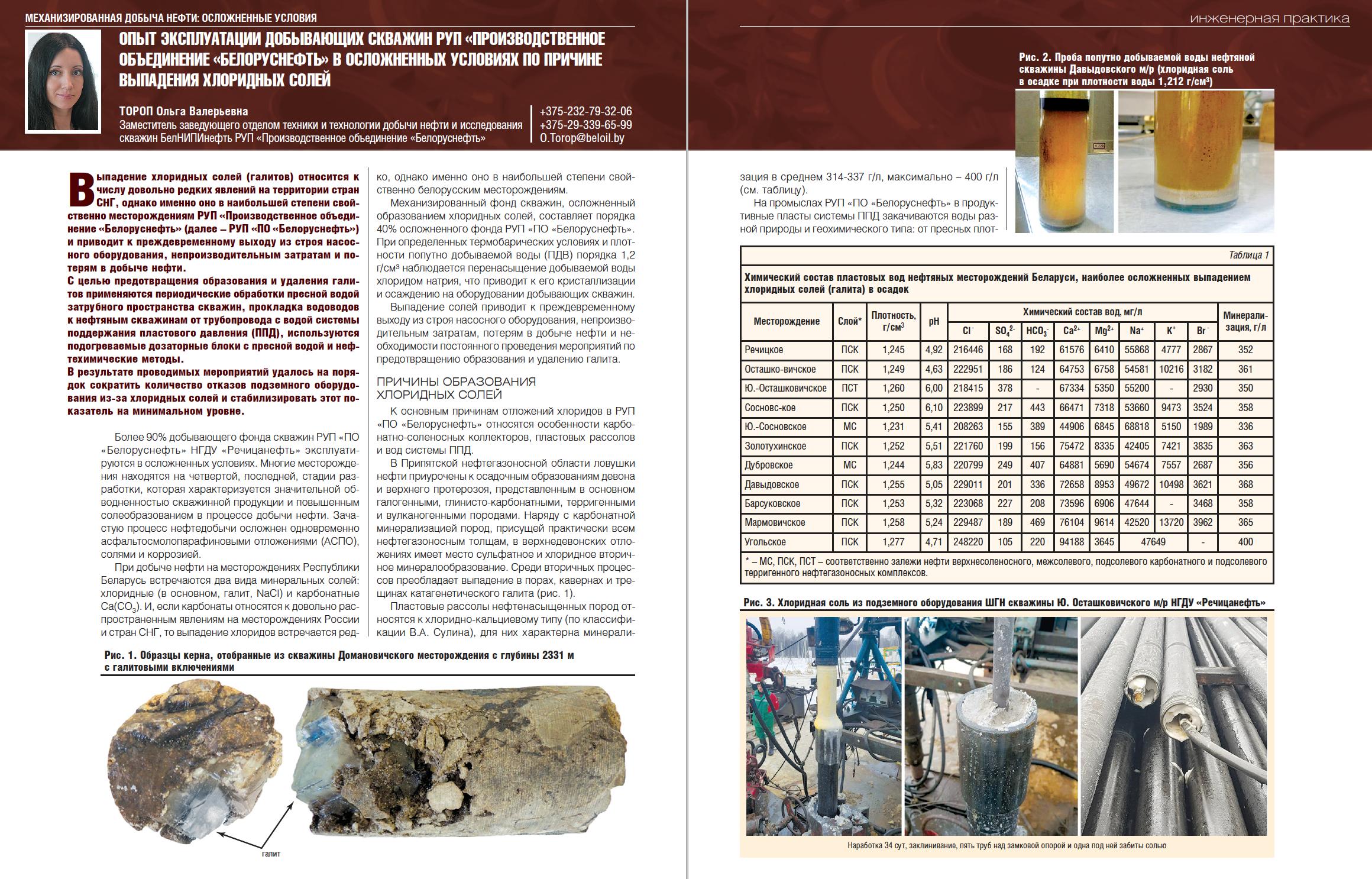 31120 Опыт эксплуатации добывающих скважин РУП «Производственное объединение «Белоруснефть» в осложненных условиях по причине выпадения хлоридных солей