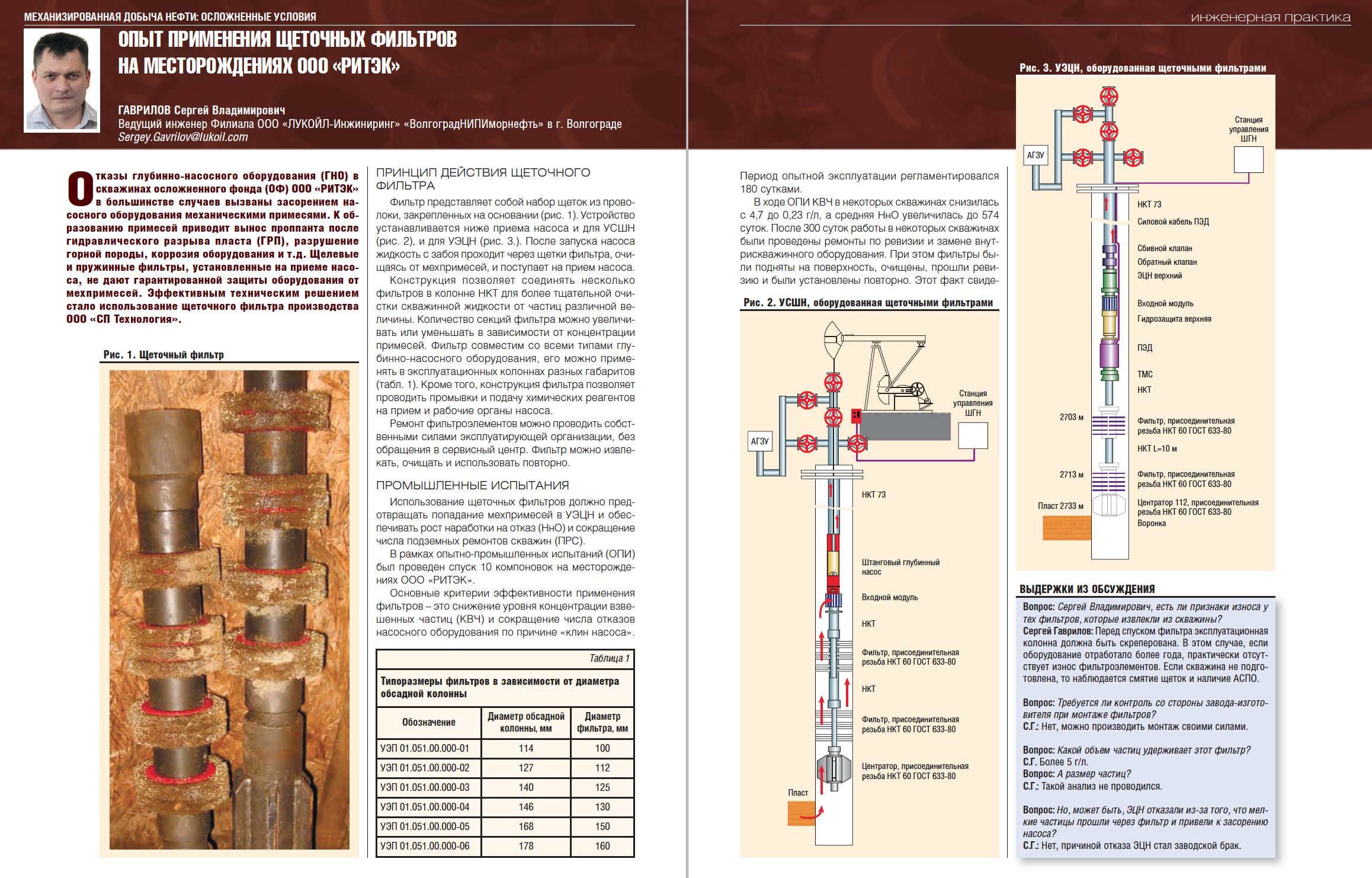 31045 Опыт применения щеточных фильтров на месторождениях ООО «РИТЭК»