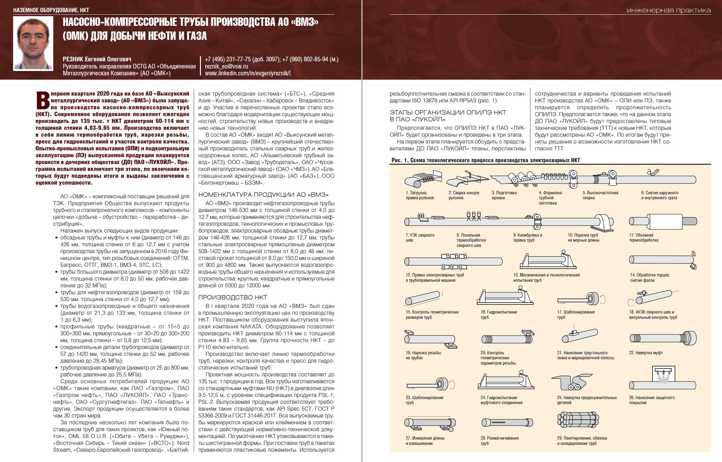 32440 Насосно-компрессорные трубы производства АО «ВМЗ» (ОМК) для добычи нефти и газа