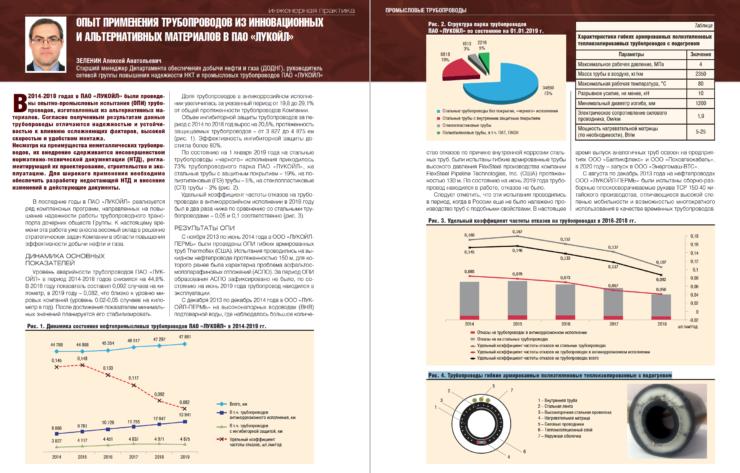 Опыт применения трубопроводов из инновационных и альтернативных материалов в ПАО «ЛУКОЙЛ»