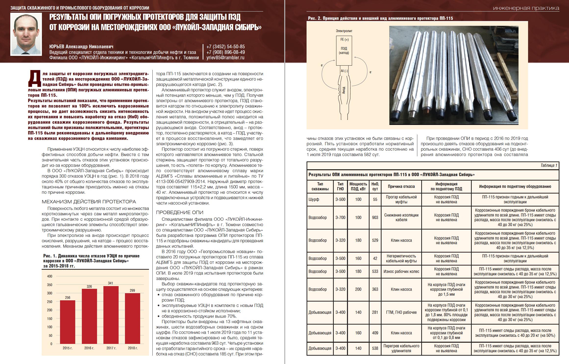 33606 Результаты ОПИ погружных протекторов для защиты ПЭД от коррозии на месторождениях ООО «ЛУКОЙЛ-Западная Сибирь»