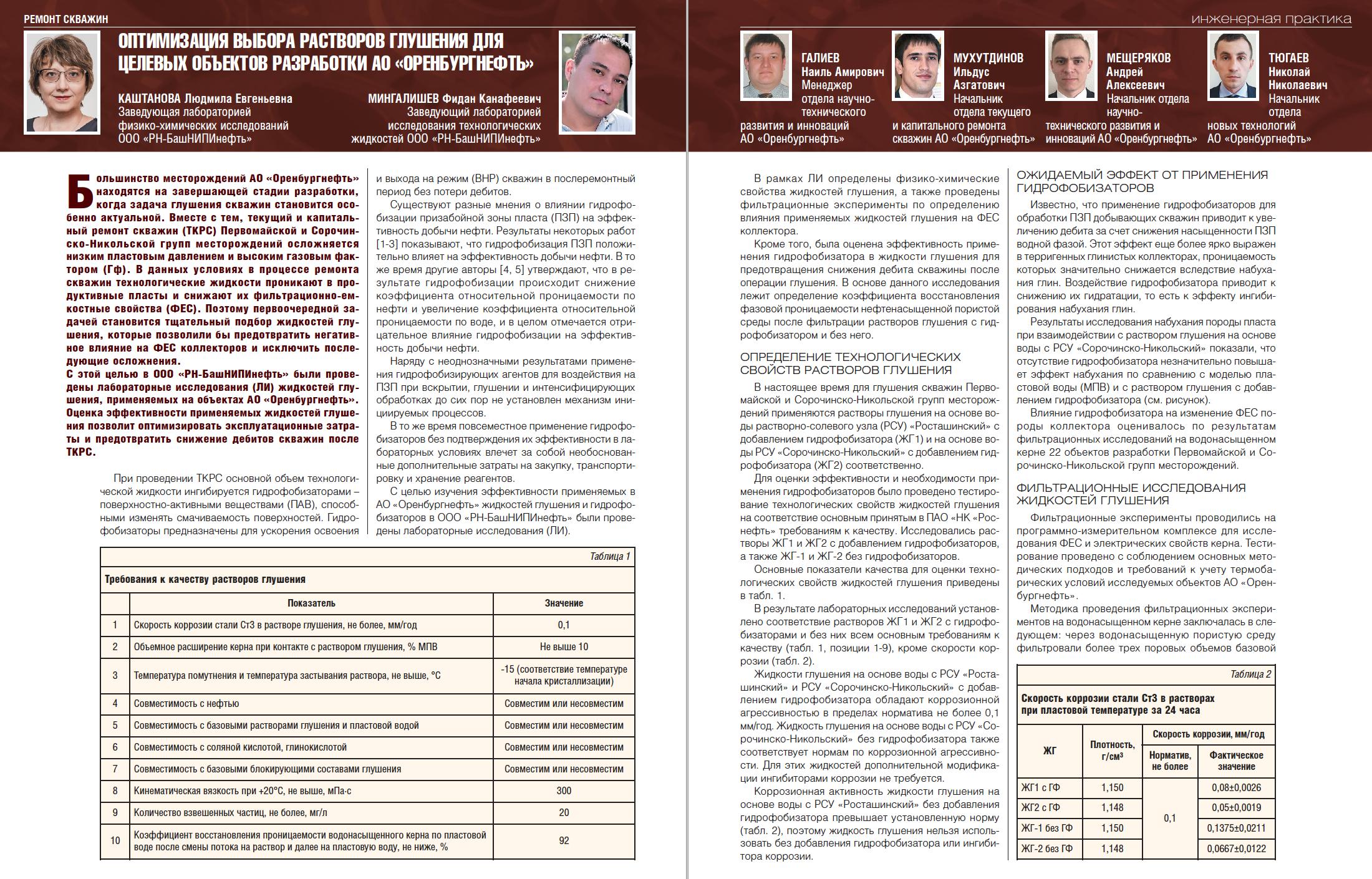 35641 Оптимизация выбора растворов глушения для целевых объектов разработки АО «Оренбургнефть»